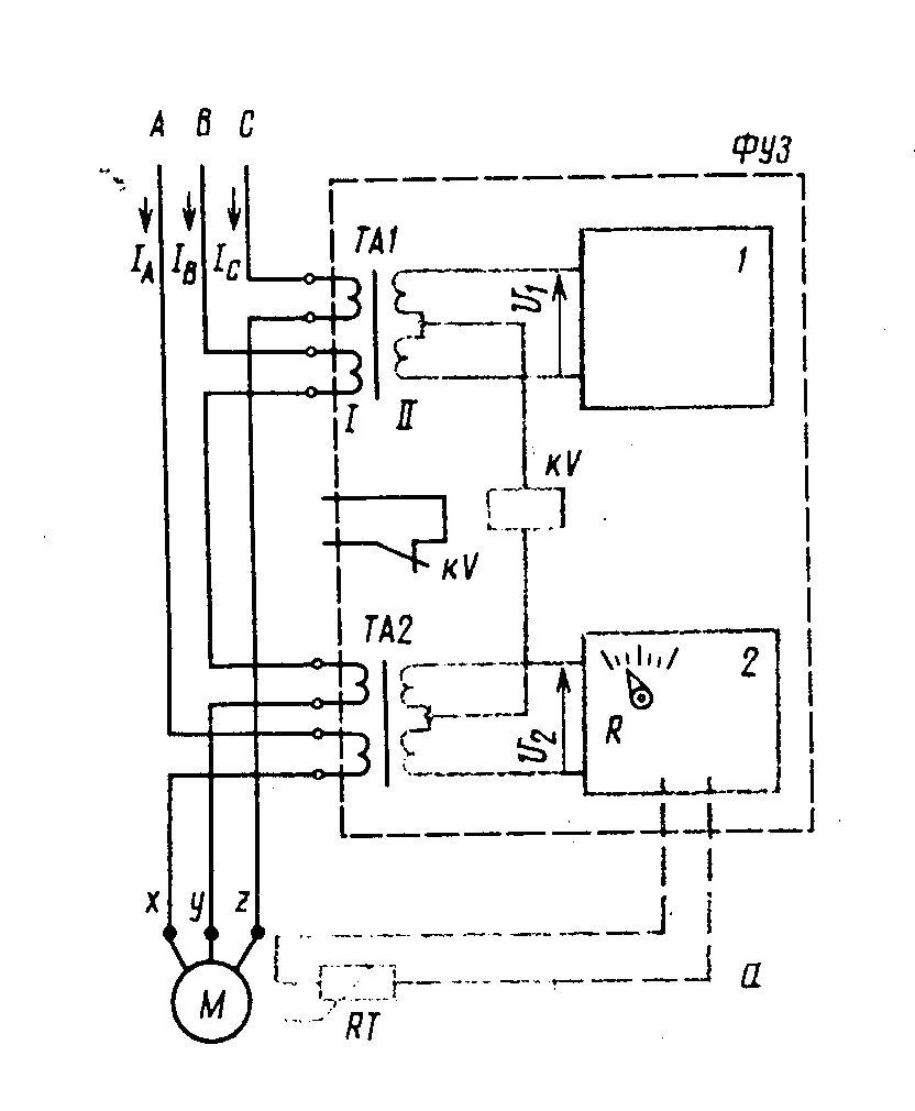 Схема защитного устройства электродвигателя