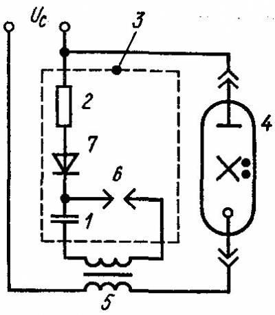 Рисунок 5 - Схемы включения ламп ДРЛ.