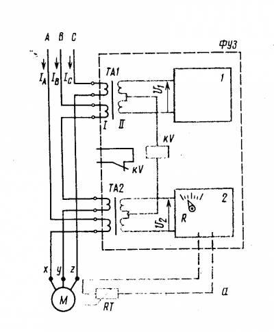 ...ФУЗ: 1 - блок со схемой контроля угла сдвига фаз (защита от потери фаз), 2 - блок со схемой защиты от перегрузки по.